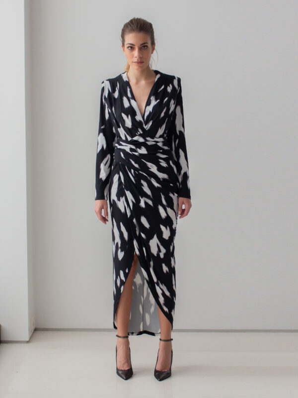 Sotris collection   Black and white draped dress