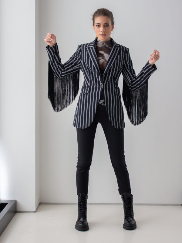 Sotris collection | Striped black jacket with fringes