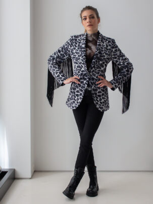 Sotris collection   Leopard black and white jacket with fringes