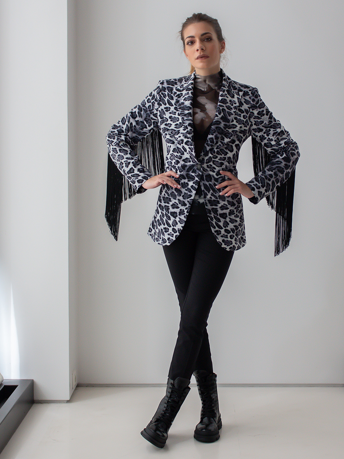 Sotris collection | Leopard black and white jacket with fringes