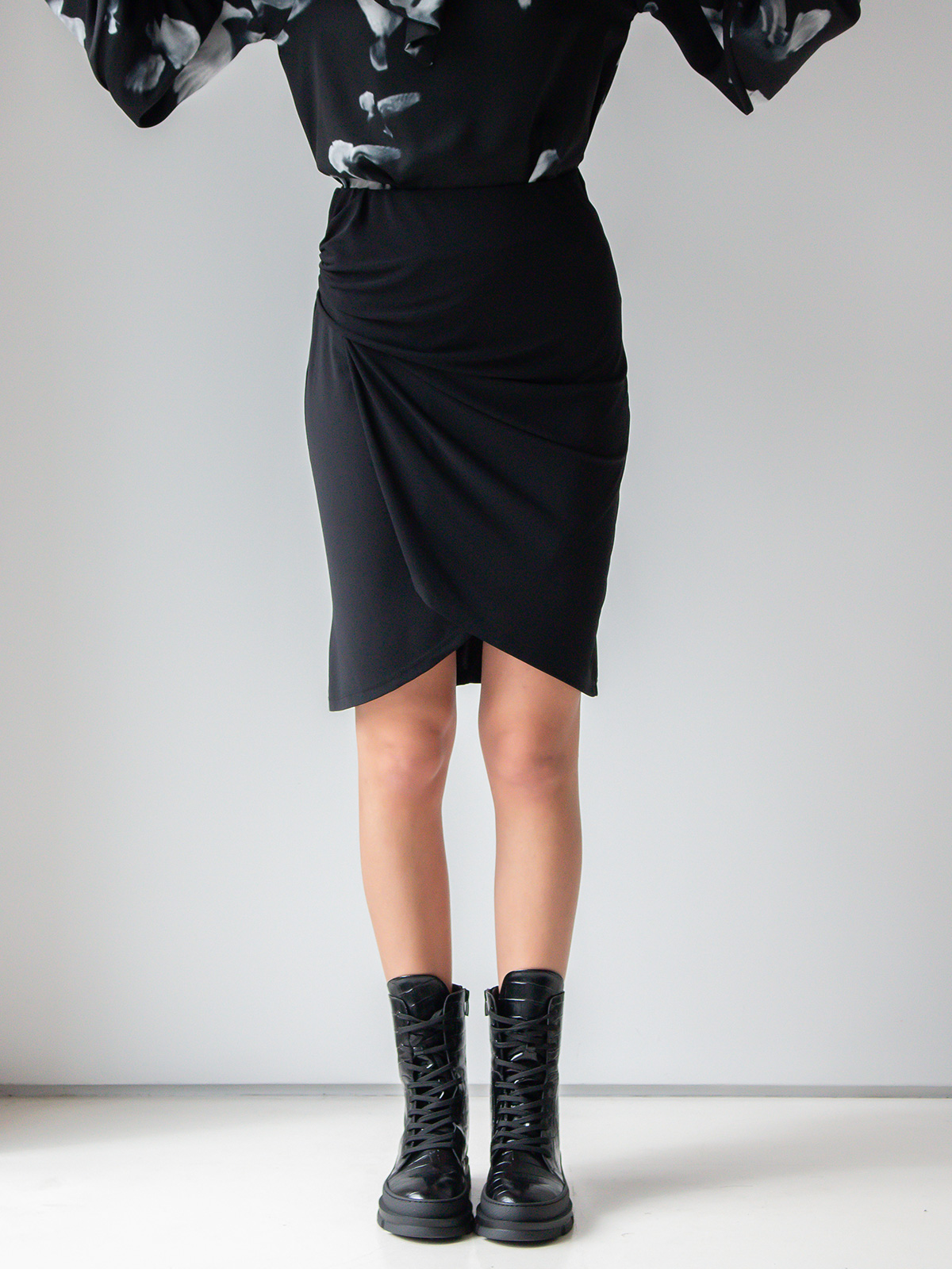 Sotris collection | Black draped midi skirt