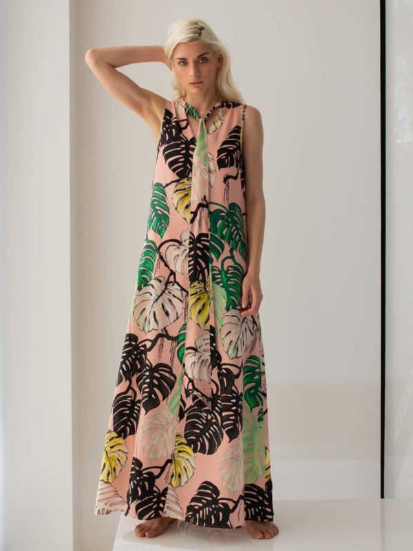Psophia | Leaf printed shift dress with tie collar