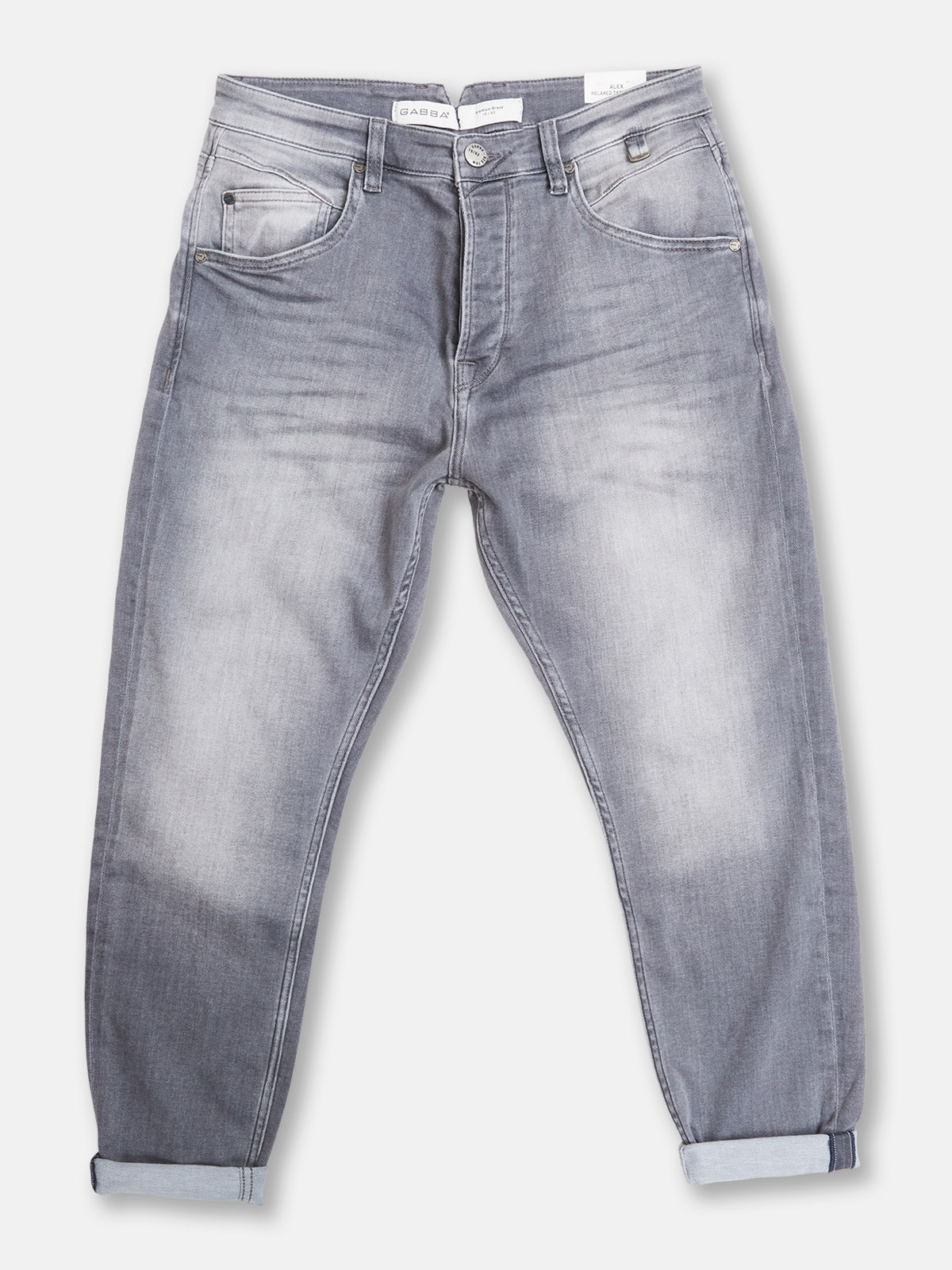 Gabba   Grey tapered faded jeans