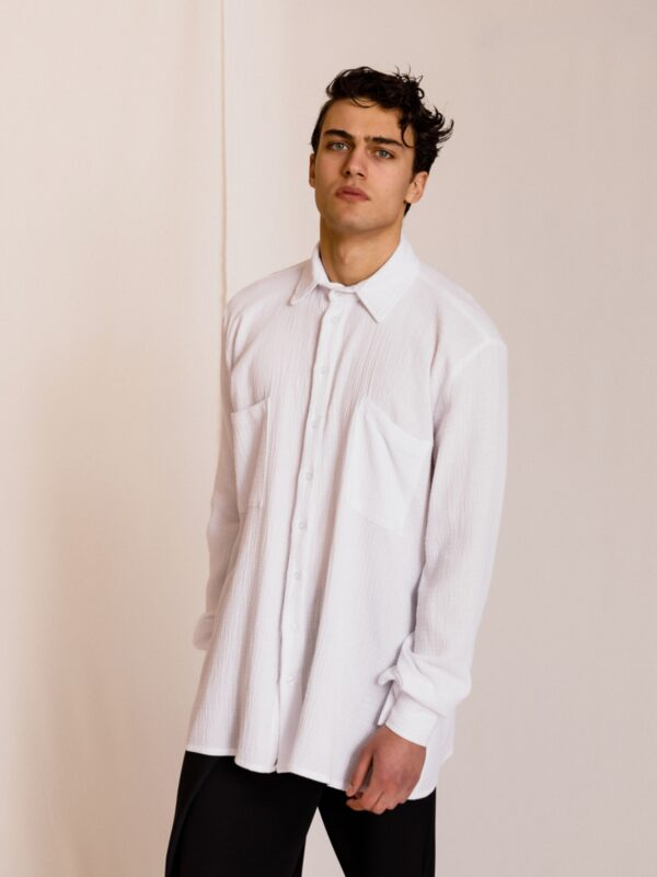 Dante | White crinkle shirt with chest pockets