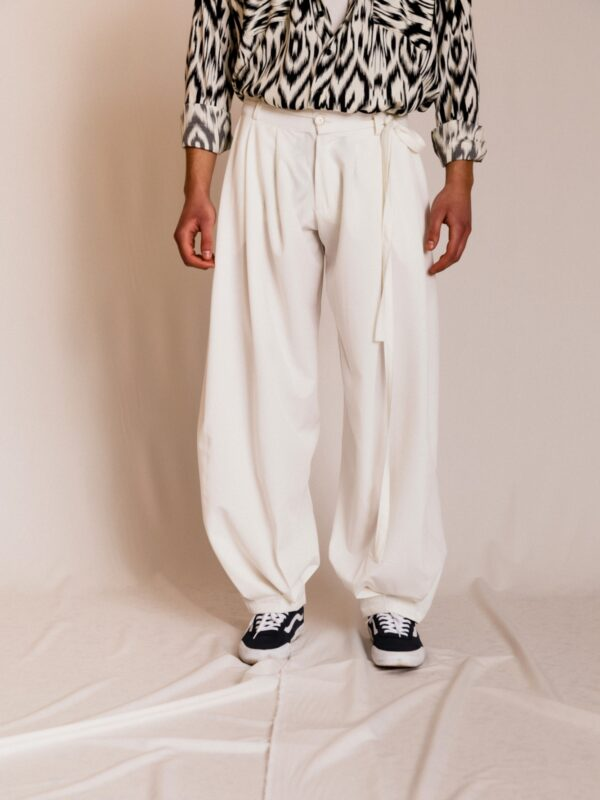 Dante | Flared trousers with tie belt