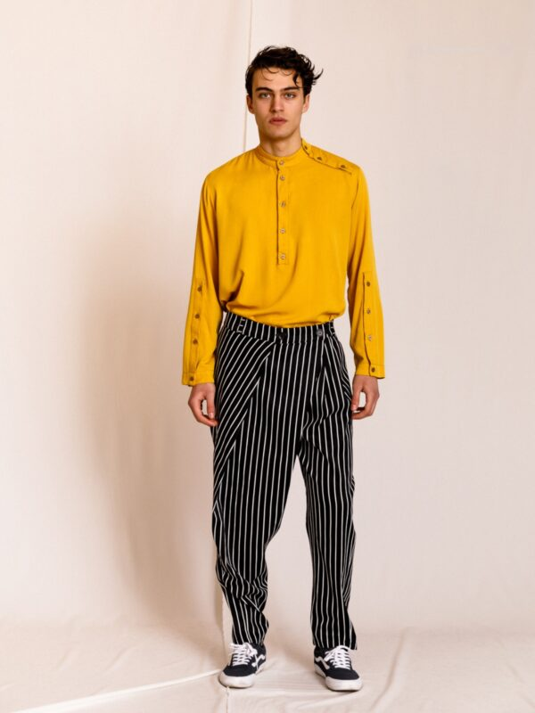 Dante | Pleated wrap front striped trousers