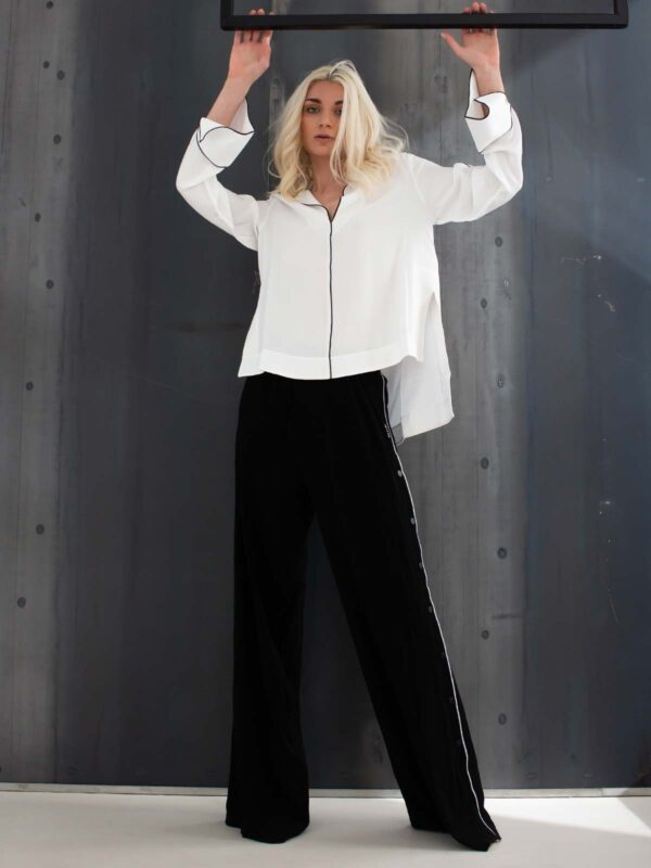 Ice Play | Buttoned contrast side seam flare trousers