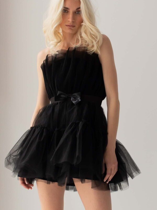 Sotris collection | Black ruffled cocktail tulle dress