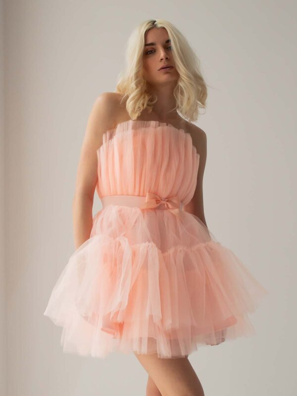 Sotris collection   Pink ruffled cocktail tulle dress