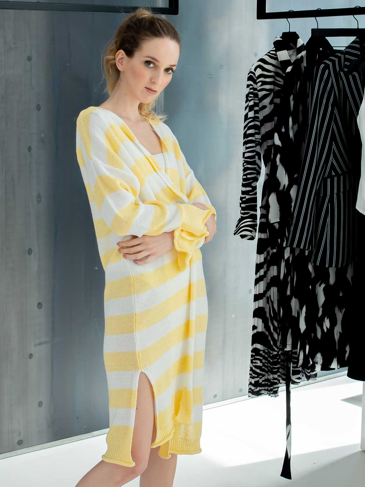 Sotris collection   Open-front striped cardigan