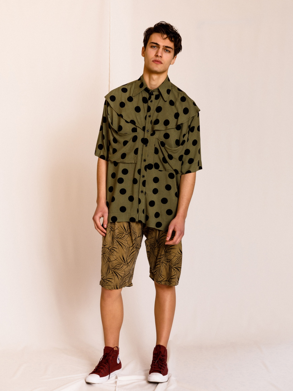 Dante | Polka dot shirt with draped pockets