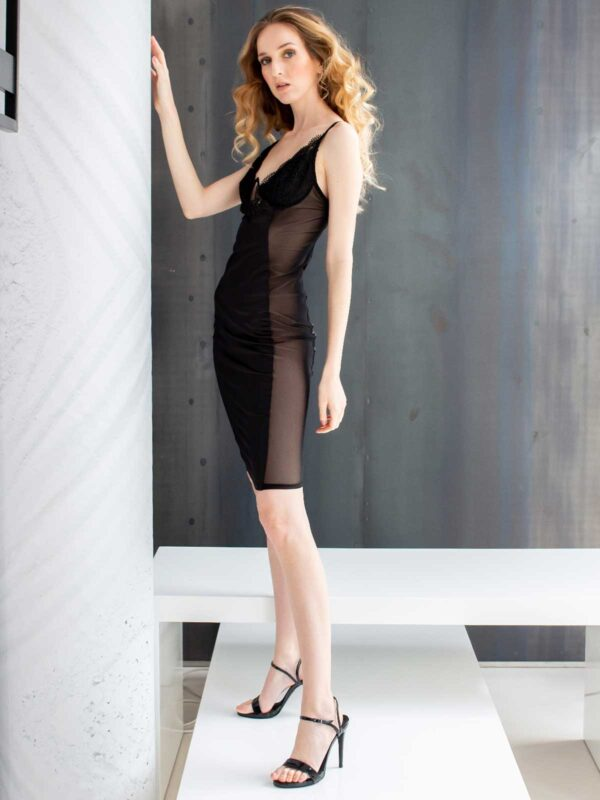 Sotris collection | Knee-length sheer-side bodycon dress