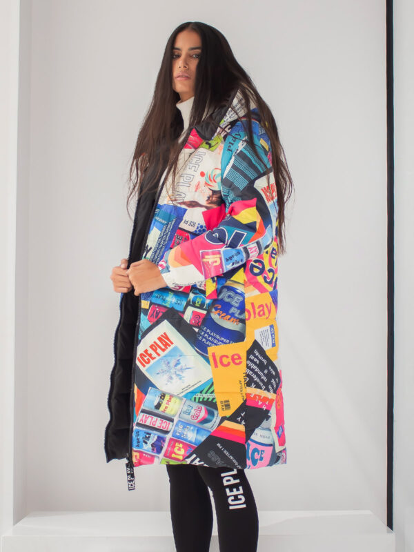 Ice Play | Patchwork print long puffer jacket