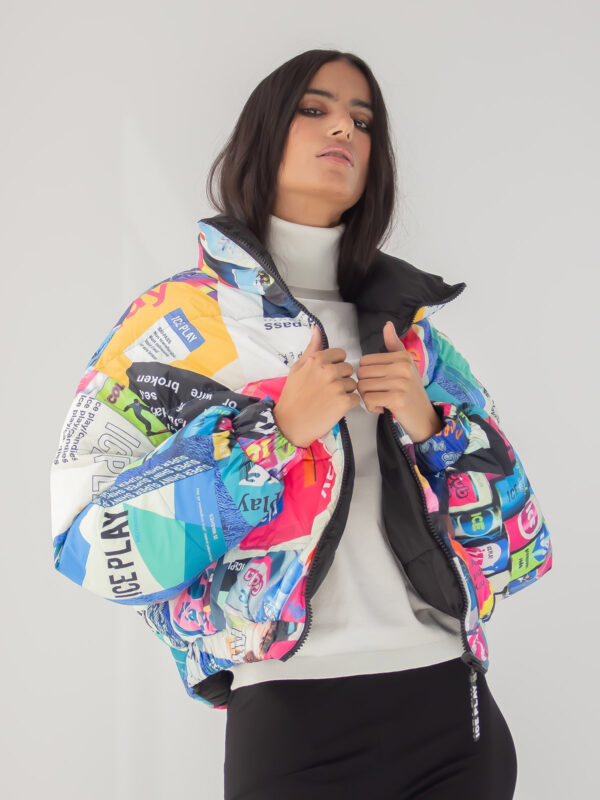Ice Play | Patchwork print puffer jacket
