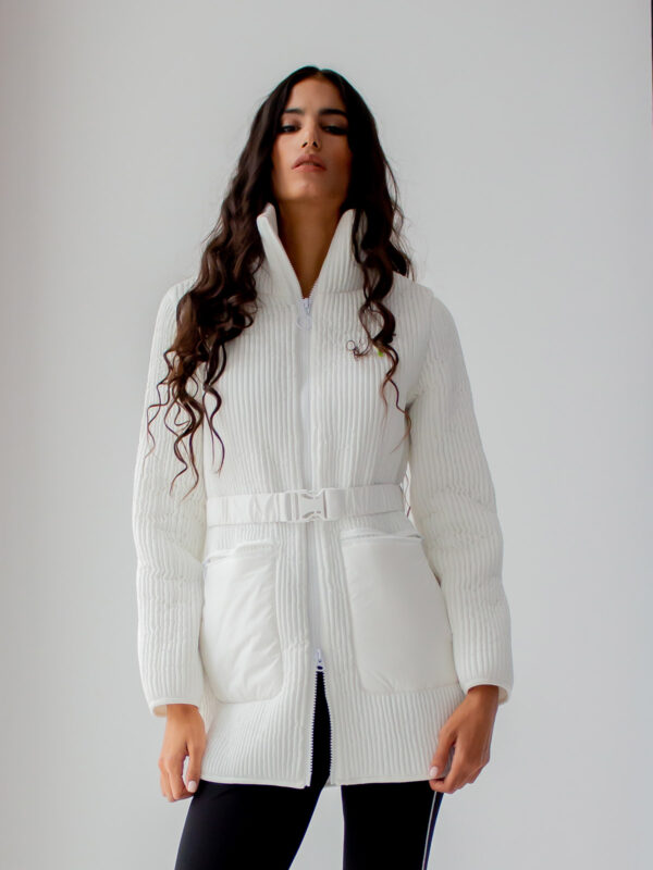 Ice Play | Ribbed puffer jacket with waist belt